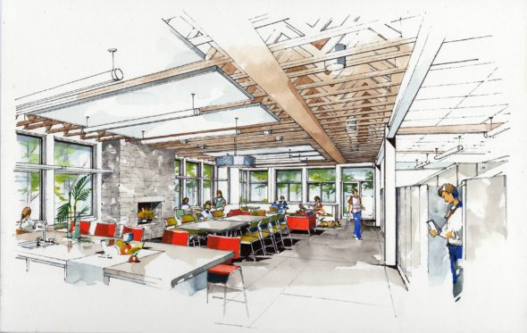 Rendering of the café area